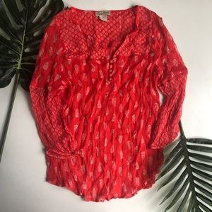 Lucky Brand Red Peasant Top